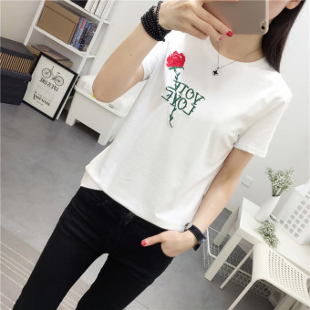 Casual embroidery female student Short sleeve Top T-shirt (White)