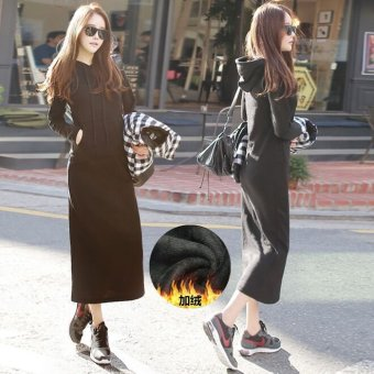 Casual Spring and Autumn New style Korean long hoodie dress (Black) (Black)