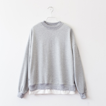 Catgirl versatile autumn New style round neck casual hoodie (Gray)