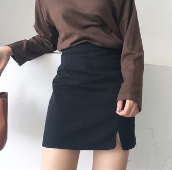 Chic autumn New Style skirt one-step skirt (Black)