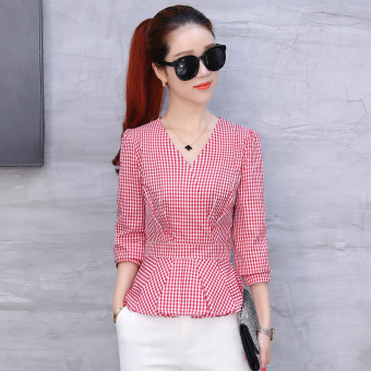 Chic Korean female long-sleeved New style shirt plaid shirt (Red)