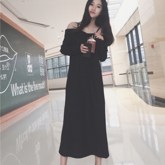 Chic Korean-style backless slimming elegant dress