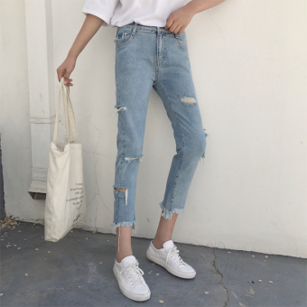 Chic Korean-style high-waisted slimming skinny raw-cut jeans ankle-length pants (001 Models)