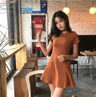 Chic Korean-style solid color women spring skirt dress (Brick red) (Brick red)