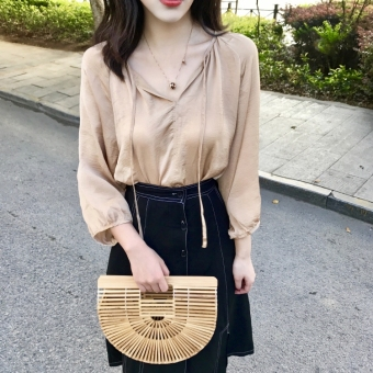 Chic Korean-style style autumn elegant shirt (Champagne color)