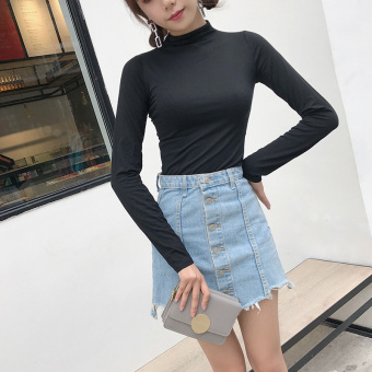 Chic retro solid color autumn elegant bottoming shirt (Black)