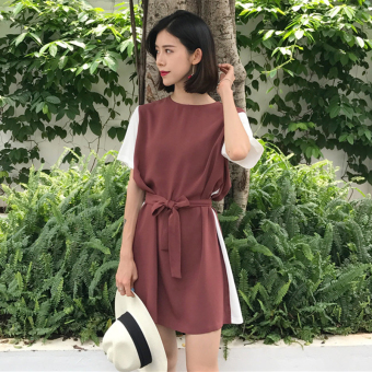 Chic retro summer style contrasting color dress (Brick red) (Brick red)