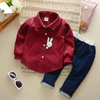 Children's clothing baby autumn paragraph long-sleeved suit 2017New style boys autumn Korean-style tide clothing 1-4-Year-OldChildren's two-piece Sets (Autumn and Wick lining long-sleeved sets[wine])
