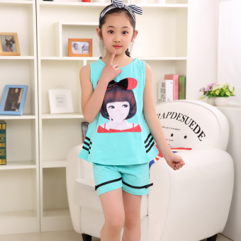 Children's clothing girls summer suit 2017 New style girlsshort-sleeved shorts casual two-piece 3-4-5-6-7-8-year-old (Skyblue color)
