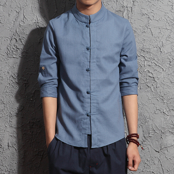 Chinese-style retro men's linen shirt cotton linen shirt (White)
