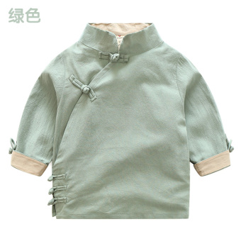 Chinese-style tx-7958 New style boy's children's collar Top retro shirt (Green)
