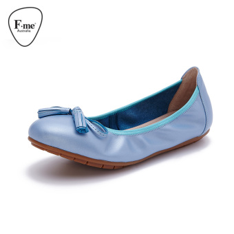 Comfortable leather round casual shoes Plus-sized women's shoes (Women's + Style a: light blue)