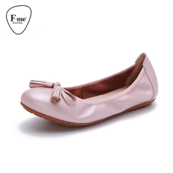Comfortable leather round casual shoes Plus-sized women's shoes (Women's + Style a: Pearl pink)