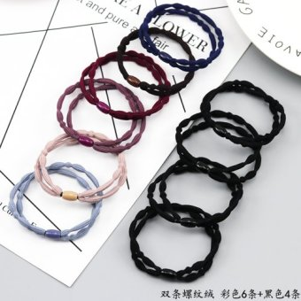 Constantly durable high stretch holster tousheng hair Ring (Double Bar thread velvet color 6 strip + black 4 bar)