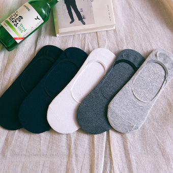Cotton solid color spring and summer thin socks hidden socks