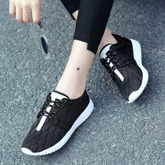Couple's female New style female mesh shoes lightweight running shoes (Men's 6612 mesh-black)