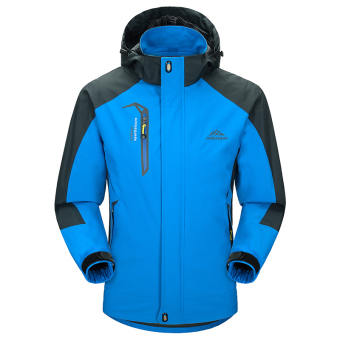 Couple's men spring and autumn thin Plus-sized climbing clothes jacket clothing (Men sapphire blue)