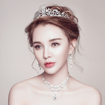 CROWN Japanese and Korean wedding dress New style bridal headdress (Necklace + earrings (clip))