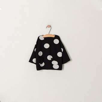 Dotted Korean-style spring New style loose Top girls long-sleeved t-shirt