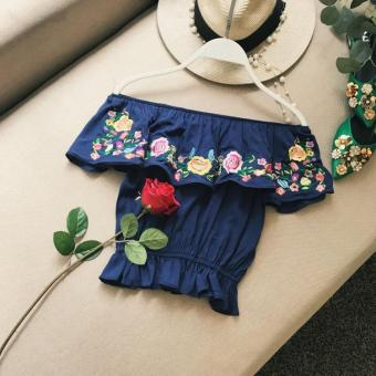 European and American embroidered industrial flowers Top small vest (Dark blue color) (Dark blue color)