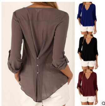 European and American explosion models Loose and plus-sized chiffon shirt