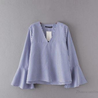European and American v-neck horn sleeve plaid blouse casual shirt
