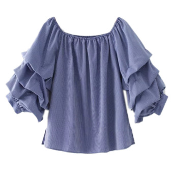 European and American wind word collar off-the-shoulder lanternsleeve shirt fashion wild Top