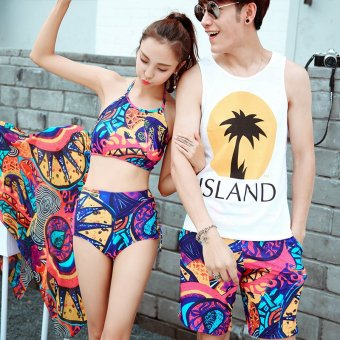 4d0251b022 European shark couple male and female models swimsuit split mantillas three  piece bikini small chest hot