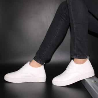 Fashion breathable heavy-bottomed student shoes white shoes (White)