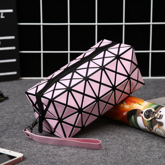 Fashion cosmetic bag large capacity Korean cute small lady storage bag portable fabric convenient waterproof travel (Pink color)