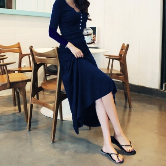 Female New style dress black dress (Dark blue color long-sleeved)