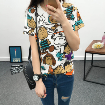 Female New style Korean Print loose Slimming effect tideshort-sleeved t-shirt (295 dog figures)