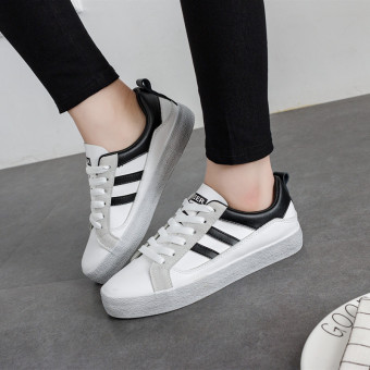 Female New style lace student canvas shoes white shoes (White andblack)