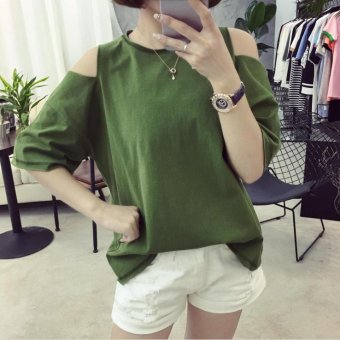 Female New style tide Short sleeve off-the-shoulder round neckKorean-style solid color T-shirt (Green)