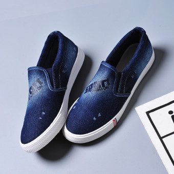 Female Plus-sized flat foot covering casual shoes canvas shoes (Dark blue) (Dark blue)