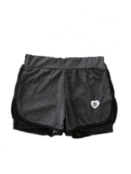 Female Summer Slimming effect fake two-piece fitness short-sleevedpants yoga clothes (Love shorts)