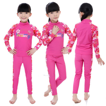 Girls children's New style orchid sun protection long-sleeved swimming clothing