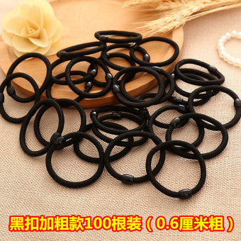 Girls rubber band hair rope elastic tousheng (Black buckle bold Models 100)