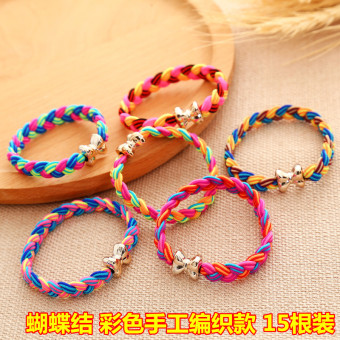 Girls rubber band hair rope elastic tousheng (Butterfly knot handmade woven 15)