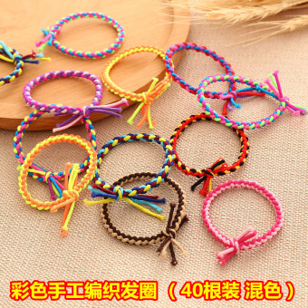 Girls rubber band hair rope elastic tousheng (Mixed color handmade woven 40)