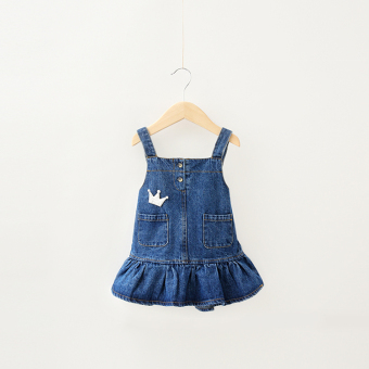 Girls strap dress denim skirt spring baby skirt spring princess dress Dungaree dress children denim dress