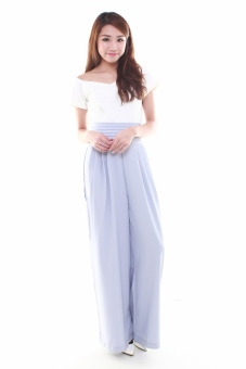 Giselle Pleated High Waist Wide Leg Pants in Lavender | Lazada ...