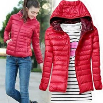 Hang-Qiao Winter Women Hooded Long-sleeved Coat Parka JacketOutwear Red