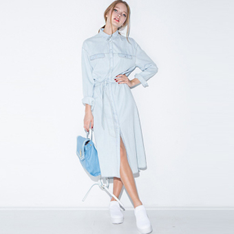 Haoduoyi2017 European and American round neck long-sleeved shirt dress