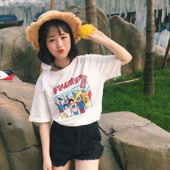 Harajuku style Print loose short-sleeved t-shirt summer women's (White) (White)