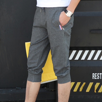I casual cotton men summer men's shorts Capri pants (Ribbon models dark gray [1159])