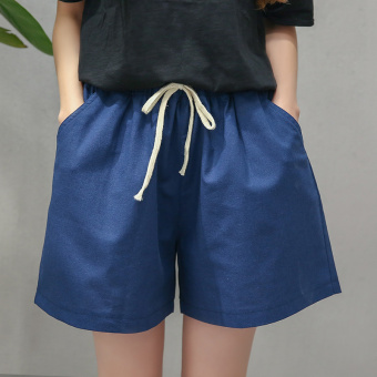 I female New style high-waisted cotton linen wide leg pants shorts (Navy)
