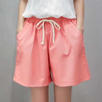I female New style high-waisted cotton linen wide leg pants shorts (Watermelon Red)