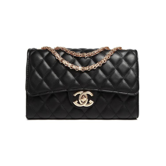 In the bag small fragrant wind quilted shoulder European andAmerican soft leather chain bag (Black shallow gold chain) (Blackshallow gold chain)