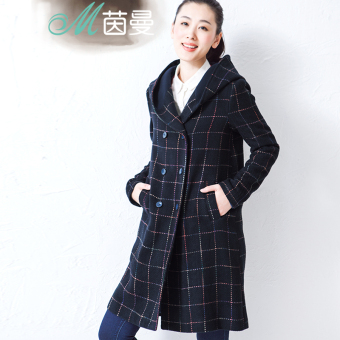 INMAN Jianyue plaid hooded long wool coat